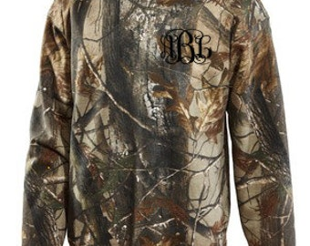 SALE Monogrammed Long Sleeve Camo Sweatshirt