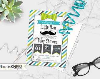 Little Man Bow Tie Mustach Baby Shower Invitation Invite Printable for Baby Boy customized - you print