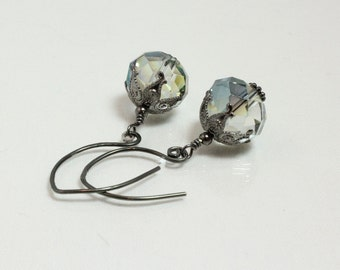 Crystal Earrings, Light Teal Green With Vintage Gunmetal