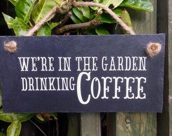 Coffee sign. Garden sign. Coffee lover. Coffee present. Coffee gift. Coffee wall decor. Kitchen coffee sign, Coffee gift