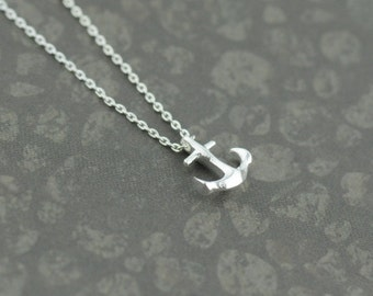 Silver Anchor Necklace. Tiny Anchor Necklace in Silver. Anchor Necklace in Silver. Anchor My Love.