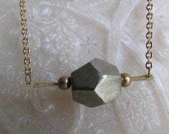 Suspended PYRITE necklace