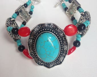 Turquoise, Coral and Black Onyx Double Bracelet