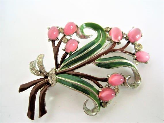 Enamel Bouquet Brooch, Pink Moonstone Cabachons, Rhodium Setting, Green Enamel Leaves, Rhinestones Surrounding