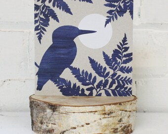 Greetings Card, Blue Moon Kingfisher, Unique card, Blue print, grey background