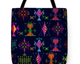 VooDou Symbols Design Tote Bag Gift - Wicca Pillow Gift - Witchcraft Tribal Throw Pillow - Pagan Decor - Tribal Decor Tote Bag - Grocery Bag