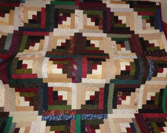 Log Cabin Quilt, Country Log Cabin Quilt, Large quilt 0114-01