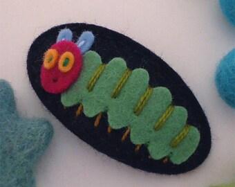 Felt hair clip, Felt animal, Baby girl, Hair accessories, Felt hair bow, School hair clip, Wool felt, Hair barrette, Caterpillar, Girls gift