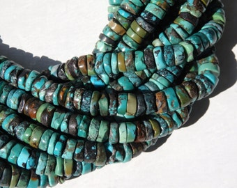 10mm Natural turquoise heishi beads - full strand of irregular turquoise heishi beads in natural tones, natural turquoise beads, 9-10mm