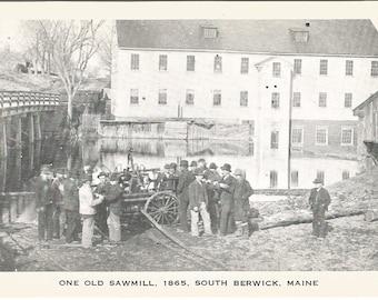 South Berwick Maine One Old Sawmill Vintage Postcard Ephemera 1920s
