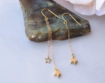 Asymmetrical gold star earrings long gold earrings star dangle earrings