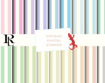 Pastel Stripe Digital Paper - Digital Background - Paper background - stripe paper pack - vintage stripe paper - paper scrapbooking