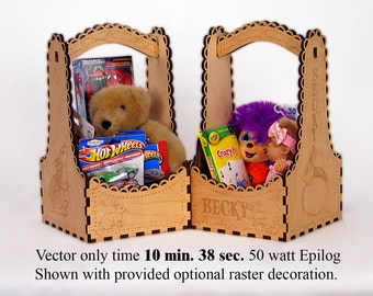 Easter Gift Box -- Digital Laser Pattern -- Square