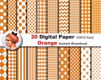 20 x Orange Digital Paper Pack -  Digital paper patterns - - Scrapbooking Paper, Instant Download (No. 2)