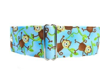 Monkey Martingale Dog Collar, Monkey Dog Collar, Blue Martingale Collar 1.5 Inch Dog Collar, Greyhound Collar Large Dog Collar