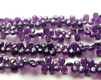 Amethyst Faceted Pear Shape Briolettes, 7x10mm Beads, Amethyst Necklace, 8 Inch Strand, 58 Pieces
