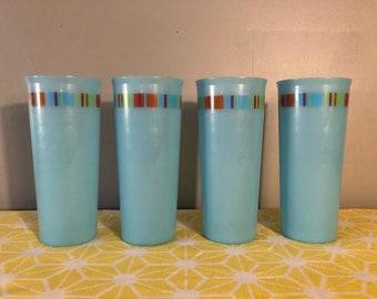 Set of 4 Blue Tupperware Tumblers