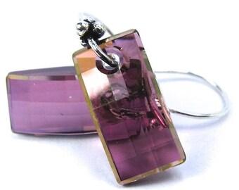 Large Purple Crystal Earrings, Swarovski Lilac Shadow Urban Earrings, New Swarovski Shape, Statement Earrings, Free US Shipping