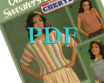 PDF - Quick Crochet Sweaters and Vests , 1985, 3 vintage designs