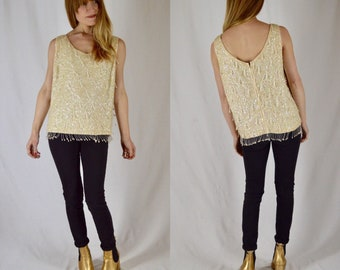 M/L 1950s Ivory Sequin Beaded Wool Shell Top