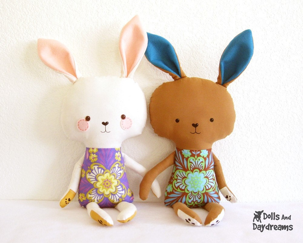 bunny template for sewing - bunny rabbit pdf sewing pattern stuffed toy softie diy easter