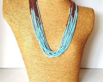 Baby blue and copper necklace, light blue necklace, statement necklace, wedding necklace,beaded necklace,bridesmaid necklace,brown and blue
