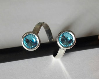 'Camille' Silver 952/1000, swarovski element aquamarine Crystal ring