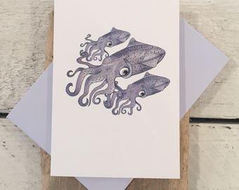 Squid card, Squid birthday card, Fathers Day card, Greeting card, Hand drawn card, Nautical card, Squid print card, Squid art, Squid print