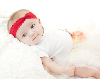 Red Lace Baby Headband, Baby Turban Headband, Red Headband Baby Girl, Baby Lace Headband, Twist Headband, Toddler Headband Newborn