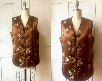 Brown satin Chinese vest - quilted padded lining - embroidered design - knot buttons -