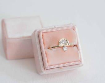 Half Moon Diamond + Round Diamond Engagement Ring   14k Recycled Gold