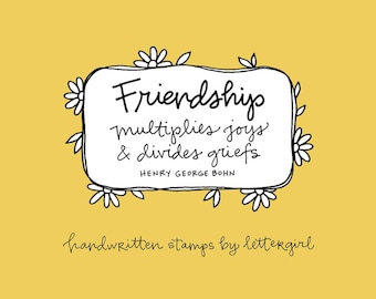 Friendship Stamp: Handwritten Quotation for Card-Making and Scrapbooking