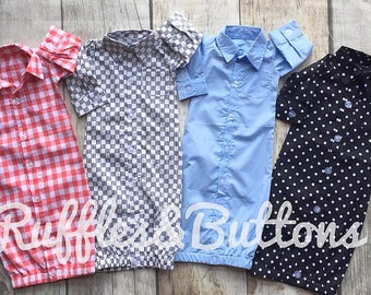Button down gown, baby boy gown, monogrammed gown, baby shower gift, take home, boy coming home outfit, newsboy cap, baby boy shirt gown