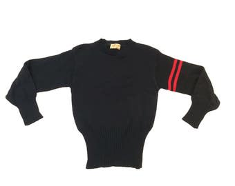 Vintage 1940s / 1950s Princeton Knitting Mills Wool Sweater Letterman Varsity Small Medium