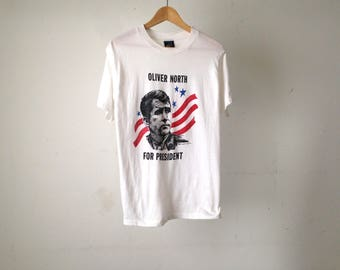 vintage 80s OLIVER NORTH for PRESIDENT rare vintage t-shirt