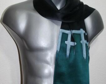 Unisex Silk Scarf. Men Women Hand Painted Scarf. Teal, Black Handmade Scarf BLACK TEAL size 11x60. Christmas Gift. Valentine Gift.