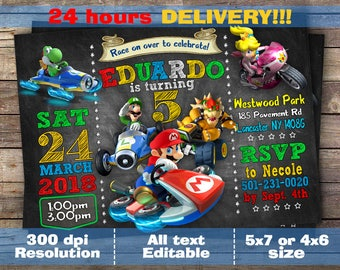 Mario Kart Invitation - Mario Kart Birthday Party Chalkboard Invite With Photo - Printable And Digital File, Digital file