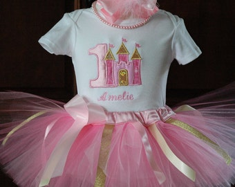 Pink and Gold First 1st Birthday Outfit-Baby Girl 1st Birthday Tutu Outfit-1st Birthday Tutu Set-First Birthday Outfit
