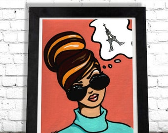 Paris Art Print, Eiffel Tower Print, Retro Girl, French Home Decor, Housewarming Gift for Her, Beehive Wig, Colorful Woman, Jackie O, Shano