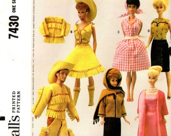 McCall's 7430 Barbie, Ken and Midge WESTERN CLOTHES PATTERN Vintage 1960s ©1964 Uncut and Collectible