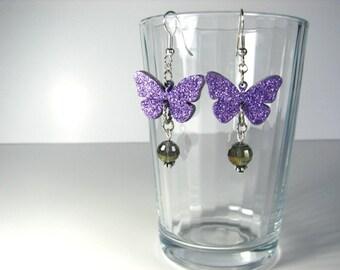 Lavender beaded glitter butterfly hook earrings