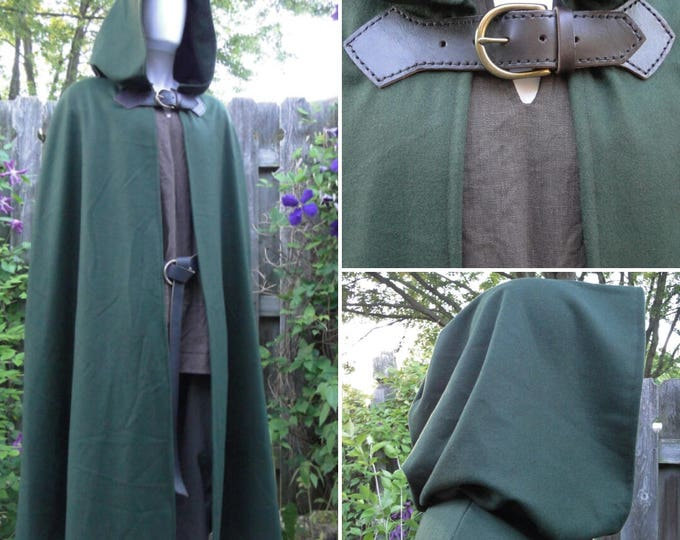 Wool Renaissance Cape, Medieval Cloak, Hooded w/ Leather & Brass Buckle Closure - Deluxe