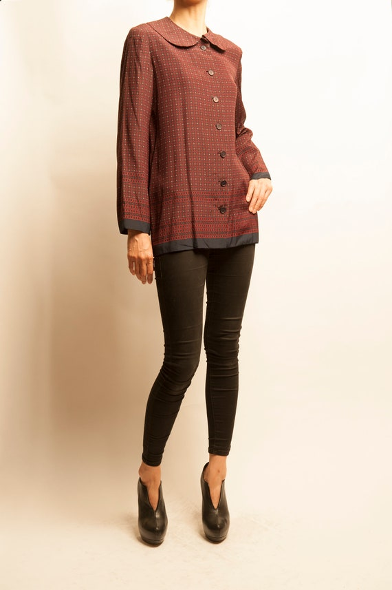 Jean Patou 1960's prototype geometric motif silk blouse