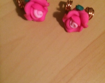 Pink Rose braid/dread loc jewelry