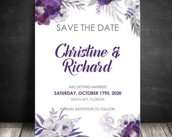 Purple Save the Dates, Plum and Silver Grey, Wedding Save the Dates, Wedding Announcements, Floral Invites