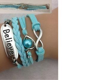Infinity, Believe, Pearl Heart  Charm  Bracelet NEW