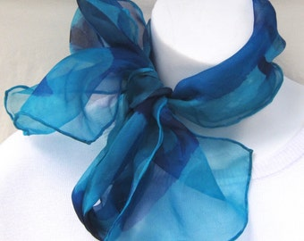 Small painted organza silk scarf in blue violet, violet and turquoise.  Handpainted silk scarf, blue organza.  Silk scarf, hand painted.