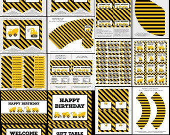 Construction party printable, party decor, boy birthday party, bunting, cupcake topper, wrapper, bob the builder, instant download, editable