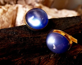 Metal Vintage Cufflinks with Synthetic Star Sapphire RF223