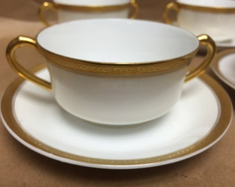 Classic White and Gold Porcelain Cup & Saucers. Made by Turin in Bavaria,  c.1930's